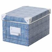 ФЬЕЛЛА Коробка с крышкой, белый, синий, 18x26x15 см
