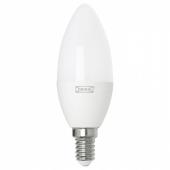 ТРОДФРИ Светодиод E14 400 лм, беспроводное регулирование теплый белый, свечеобразный молочный