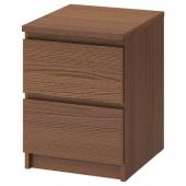 МАЛЬМ Комод с 2 ящиками, коричневая морилка ясеневый шпон, 40x55 см