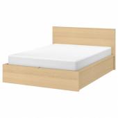 МАЛЬМ Кровать с подъемным механизмом, дубовый шпон, беленый, 180x200 см